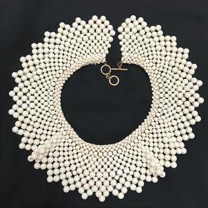 Vintage Necklace Bib Collar Woven Strung